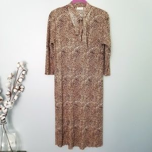 {Vintage} Leopard Neck Tie Dress Sz Small/Medium